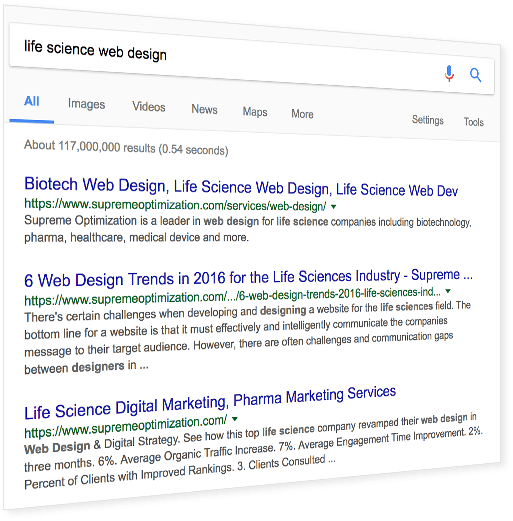 Life Science Web Design SEO Research