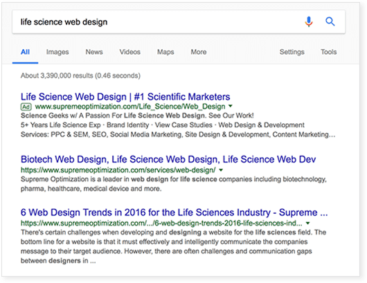 Biotech and Life Science Website Design Drives Traffic